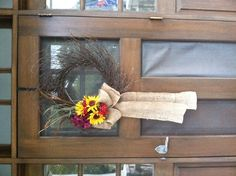 Fall door wreath... I'm a sucker for ridiculously large bows!