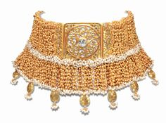 Choker made with gold beads and pearls from the World Gold Council's 'Tarun Tahiliani for Azva' collection.