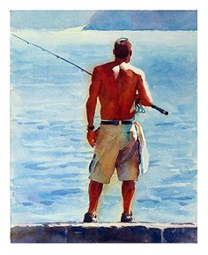 """Man, fishing by Graham Berry Watercolor ~ 10"""" x 8"""" ...reminds me of my brother so much!"""