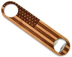 This industrial grade wood bottle opener was made with Maple wood and an American flag etching. The perfect gift for the patriot or veteran in your family.