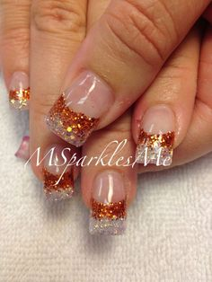Fall nails - orange glitter