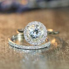 Halo Diamond White Topaz Engagement Wedding Ring Set in 14k White Gold 8mm Round White Topaz Ring and Half Eternity Diamond Wedding Band by LaMoreDesign on Etsy https://www.etsy.com/listing/204034344/halo-diamond-white-topaz-engagement