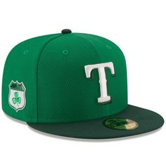 ba0f2f358a9 Texas Rangers New Era 2017 St. Patrick s Day Diamond Era 59FIFTY Fitted Hat  - Green