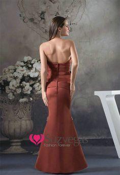 Elegant Strapless Mermaid Satin Brown Ruffle Soft Floor Length Bridesmaid Dresses Evening Gowns with Sash_Bridesmaid Dresses_Wedding Party Dresses_Online Shopping for Dresses,Wedding Dresses,Special Occasion Dresses,Prom Dresses!