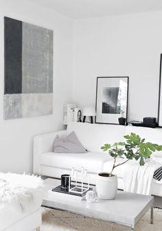Decoración en blanco y gris