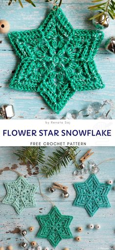 Decorate Your Christmas Tree with Flower Star Snowflakes - Free Crochet Pattern . - Decorate Your Christmas Tree with Flower Star Snowflakes – Free Crochet Pattern – Häkeln – # - Crochet Christmas Decorations, Crochet Ornaments, Holiday Crochet, Crochet Crafts, Crochet Projects, Free Christmas Crochet Patterns, Crochet Star Patterns, Snowflake Ornaments, Christmas Snowflakes