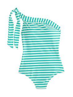 J.Crew one-shoulder one-piece swimsuit in classic stripe, $118 (jcrew.com).