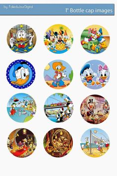 "Folie du Jour Bottle Cap Images: Free Donald digital bottle cap images 1"" 1 inch"