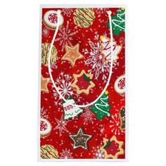 #Christmas #Cookies and #Snowflakes on Red #Gift #Bag by Lee Hiller