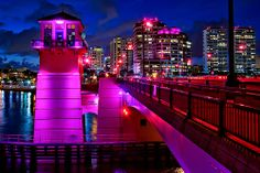 Pink Bridge for Breast Cancer Awareness at Downtown West Palm Beach by HDRcustoms (very busy), via Flickr