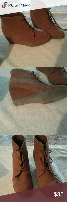 Shoes Cute Madden Girl wedge lace up ankle boots. Chestnut brown. New with box. Madden Girl Shoes Ankle Boots & Booties