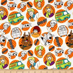 Scooby Doo The Gang Orange from @fabricdotcom  Licensed to Camelot Fabrics, this cotton print Scooby-Doo collection is perfect for quilting, apparel and home decor accents. Colors include orange, white, brown, blue and black.