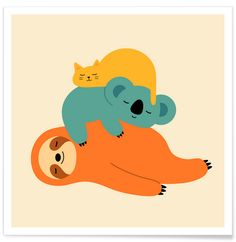 Being Lazy - Andy Westface. The cutest, sleepiest friends you ever did see. Playful wall art for your kids room available at JUNIQE.