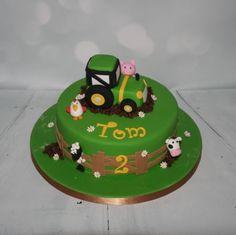 Tractor & farmyard animal cake
