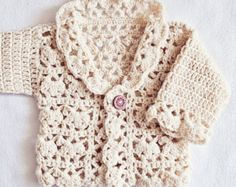 Harriet Lace Cardigan Crochet pattern by Mon Petit Violon Crochet Gloves Pattern, Crochet Cardigan Pattern, Crochet Patterns, Crochet Baby Cardigan, Crochet Collar, Knitting Patterns, Crochet Yarn, Easy Crochet, Cardigan Bebe