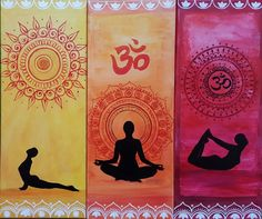 Yoga art from Redhead Art, Painting made by Lisa Marie Schmidt I made a series of yoga art, 7 paintings of the chakras, their colour, a mandala and a connected yoga pose (asana). Yoga Painting, Redhead Art, Yoga Art, Artist Gallery, Lisa Marie, Schmidt, Asana, Namaste, Buddha