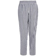 Theory Korite Visaya White and Denim Blue Stripe Straight-Leg Linen Trouser featuring polyvore, women's fashion, clothing, pants, blue, white pants, white denim pants, elastic waist linen pants, blue pants and relaxed fit pants