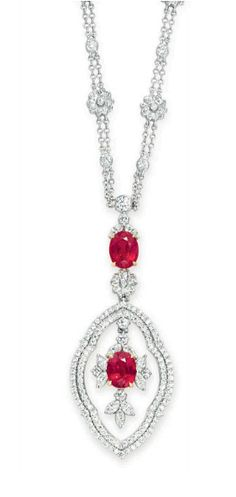 A RUBY AND DIAMOND NECKLACE, BY TIFFANY & CO.   18k gold, 15 7/8 ins.  Signed Tiffany & Co., no. 19428958