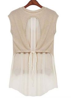 Chic top with knit and chiffon 3e2625b2685ef