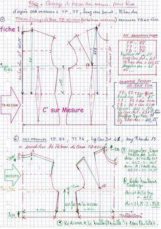 tracer la base correspondant a votre TB csm (choisi d'après la ref TP). comme référence pour vous, prendre le Corsage de Base TB40 schémas Mesures csm.(réf : TP=88) modifier la base pour qu'elle corresponde avec vos mesures... prendre la Manche de Base...