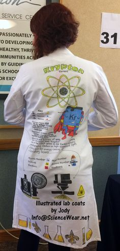 Personalized, illustrated lab coats front and back $125-$135 (Depending on size), includes lab coat, art, and shipping. Washable.  More examples on link.  Info@ScienceWear.net Atomic Number, Lab Coats, Beginning Of School, Link, Illustration, School Starts, Illustrations, Character Illustration