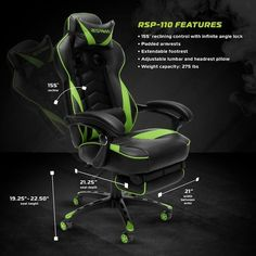 Respawn 110 Racing Style Reclining Gaming Chair with Footrest - On Sale - Overstock - 22848763 - Black Gaming Furniture, Office Furniture, Rolling Office Chair, Gamer Chair, My Son Birthday, Support Pillows, Ergonomic Chair, Sit Back And Relax, Bonded Leather