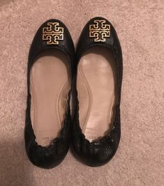 f62acab404c5 TORY BURCH MELINDA BALLET FLATS TUMBLED LEATHER BLACK GOLD 8  fashion   clothing  shoes
