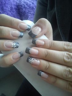 gray french manicure - Google Search