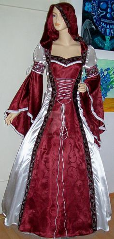 Medieval dress Rose by Azinovic on DeviantArt Medieval Gown, Renaissance Clothing, Renaissance Fashion, Medieval Outfits, Cosplay, Pretty Outfits, Beautiful Outfits, Unique Costumes, Fun Costumes