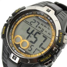 Timex T5K421 Men's Marathon Digital Indiglo Night Light Yellow Accents Rubber Strap Watch