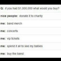 Bands, I'd also buy a bunch of books and clothes
