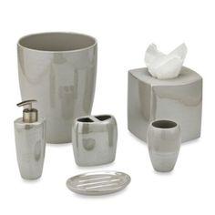 Akoya Pearlized Ceramic Bathroom Accessories in Platinum - BedBathandBeyond.com. SKU # 41996461, wastebasket $30. tissue box $25.     toothbrusher holder $11.  lotion dispen. $13.