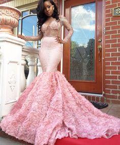 Mooie roze prom dress 2017 mermaid lange mouwen see through hals bloem crystal afrikaanse zwarte meisjes avondjurk designs