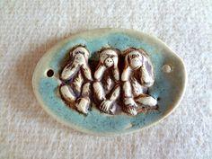 Porcelain Pendant - See No Evil Hear No Evil Speak No Evil