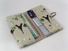 Cute paris fabric wallet Eiffel Tower France money credit debit business card present gift