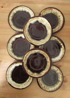 ***Lot of 8 Vintage PFALTZGRAFF Gourmet Brown Drip Saucers Plates #Pfaltzgraff & Pfaltzgraff Gourmet Brown Drip Dinner Plates Cups Saucers Set ...