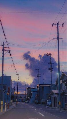 Iphone Wallpaper Tumblr Aesthetic, Aesthetic Pastel Wallpaper, Aesthetic Backgrounds, Aesthetic Wallpapers, Nagisa Shiota, Japon Illustration, Anime Scenery Wallpaper, City Aesthetic, City Art