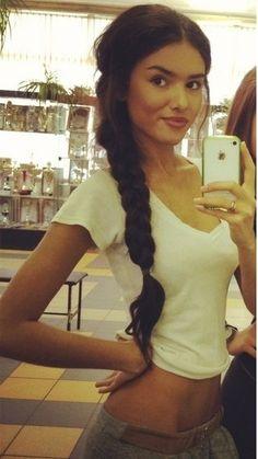 she is super cute!! love her hair & makeup!