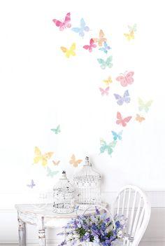 Acuarela mariposas 61008 la etiqueta engomada por verryberrysticker