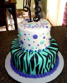 2 tier cake in teal & blue for 13 yr. old who loves bright colors.  Vanilla & chocolate with French Vanilla buttercream and fondant accents.  1st time to make zebra stripes.  Thankfully, she loved her cake!  TFL