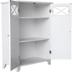 White floor cabinet is easy to put together and will fit well into any compact area. Double Door Floor Cabinet has a charming blend of contemporary and old world style. Made ofMDF wood, the Double Door Floor Cabinet is. | eBay!