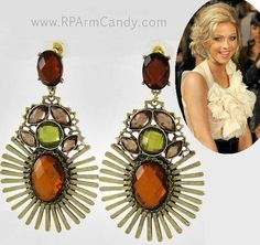 "PERFECT STYLE & COLOR FOR AUTUMN EVENT : Big Statement Chandelier Earrings |  2 3/4"" Long 