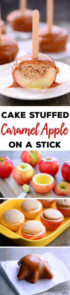 Cake Stuffed Caramel Apple On A Stick | This recipe is a fun way to serve baked apples this autumn. They look like caramel apples and they have a spiced cupcake inside.