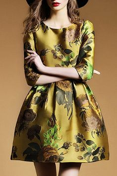 Retro Style Embroidery Round Collar 3/4 Sleeve Dress For Women