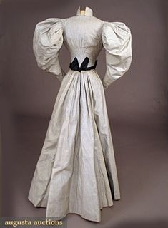 Ephemeral Elegance | Brocaded Cotton Day Dress with Taffeta Trim, ca....