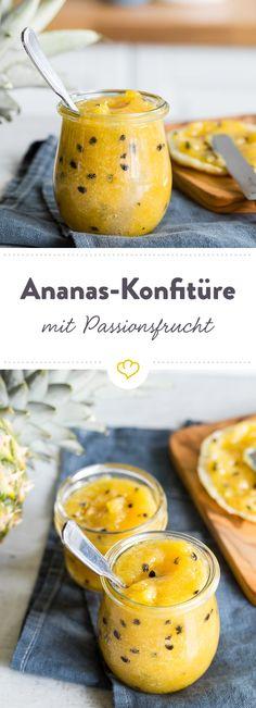 Hol dir Karibikfeeling auf deinen Frühstückstisch und bestreiche dein Brötchen mit dieser fruchtigen Ananas-Konfitüre mit Passionsfrucht.