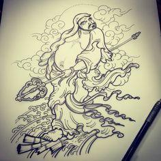 Bodhydarma draw. By Bruno Mattos @brunomattostattoo Instagram