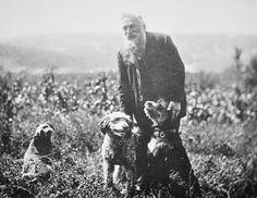 Auguste Rodin walking his dogs in Meudon, Val-Fleuri