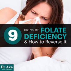 Folate Deficiency & How to Reverse It. Article explains the difference between naturally occurring folate and synthetic folic acid, and lists some foods that are higher in folate. Folic Acid Deficiency, Iron Deficiency, Adrenal Fatigue, Alternative Health, Dr Axe, Wellness, Vitamins, Chronic Pain, Diet