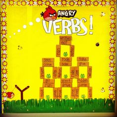 "Angry Verbs!-This is an interactive bulletin board HOW TO PLAY- I made several ""angry bird"" cut outs with an irregular verb in the present tense and underneath it I wrote either: PRESENT, PAST, FUTURE. The students would then pick the corresponding block off of the board. If a pig was uncovered on all sides, the player got a bonus of 5 points!"